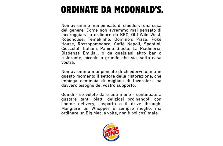 Burger King invita i suoi fan ad ordinare dai suoi competitor
